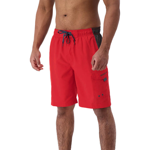 SPEEDO MEN'S MARINA COLORBLOCK VOLLEY SWIM TRUNKS ATOMIC RED