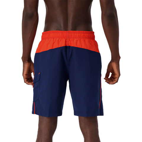 SPEEDO MEN'S MARINA COLORBLOCK VOLLEY SWIM TRUNKS ORANGE/BLUE