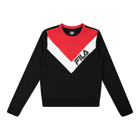 FILA WOMEN'S ALMA MATER SWEATSHIRT BLACK/RED/WHITE