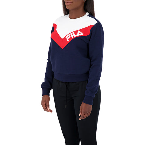 FILA WOMEN'S ALMA MATER SWEATSHIRT PEACOAT/WHITE/RED