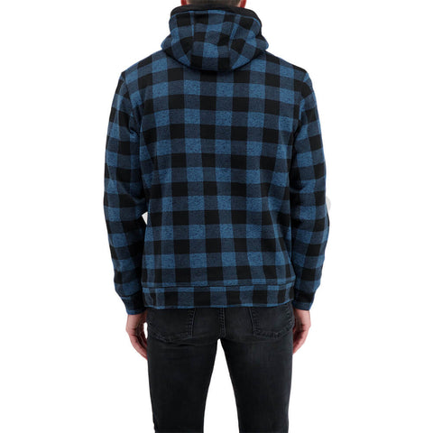 BURNSIDE MEN'S BUFFALO PLAID FLEECE JACKET DENIM