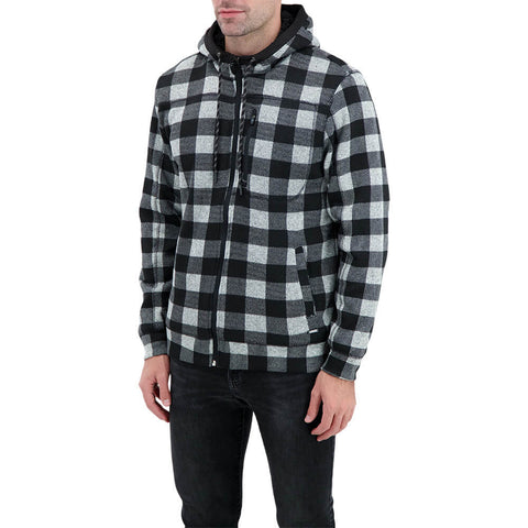 BURNSIDE MEN'S BUFFALO PLAID FLEECE JACKET BLACK