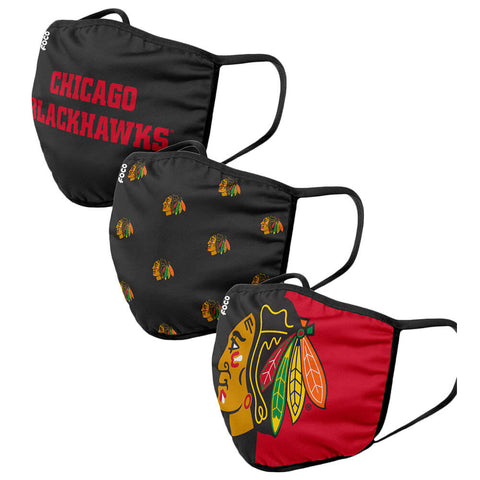 FOREVER COLLECTIBLES CHICAGO BLACKHAWKS 3 PACK FACE COVERINGS