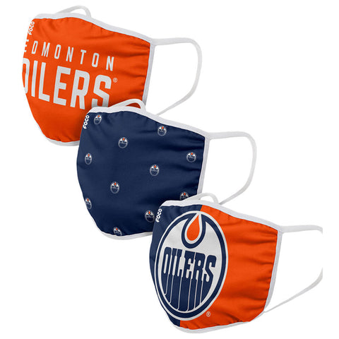 FOREVER COLLECTIBLES EDMONTON OILERS 3 PACK FACE COVERINGS (NON-MEDICAL)