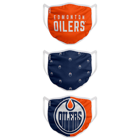 FOREVER COLLECTIBLES EDMONTON OILERS 3 PACK FACE COVERINGS