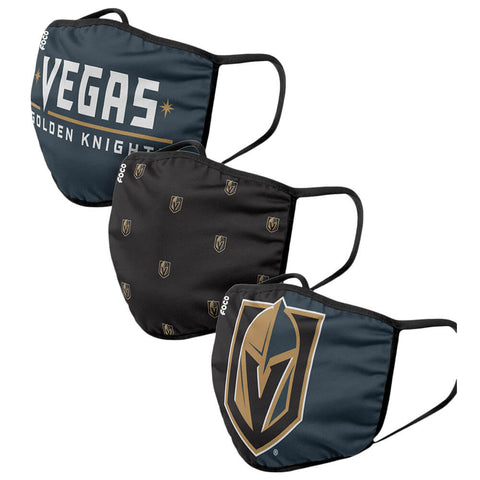 FOREVER COLLECTIBLES LAS VEGAS GOLDEN KNIGHTS 3 PACK FACE COVERINGS