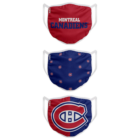 FOREVER COLLECTIBLES MONTREAL CANADIENS 3 PACK FACE COVERINGS