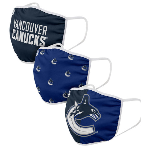 FOREVER COLLECTIBLES VANCOUVER CANUCKS 3 PACK FACE COVERINGS