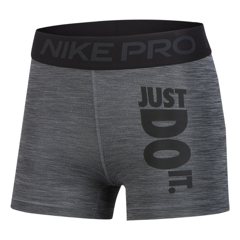 NIKE WOMEN'S PRO 3 INCH SHORT HEATHER JDI BLACK/HEATHER/BLACK