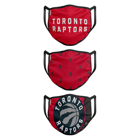 FOREVER COLLECTIBLES TORONTO RAPTORS 3 PACK FACE COVERINGS (NON-MEDICAL)