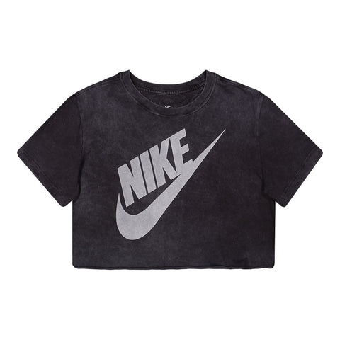 NIKE WOMEN'S NSW TEE WASH FUTURA CROP BLACK