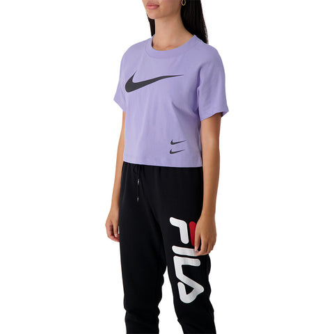 NIKE WOMEN'S NSW SWOOSH SHORT SLEEVE LIGHT THISTLE/BLACK