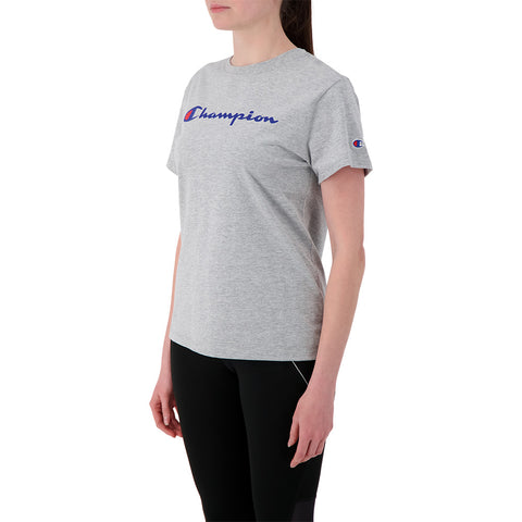 CHAMPION WOMEN'S CHAMPION SCRIPT SHORT SLEEVE OXFORD GRAY