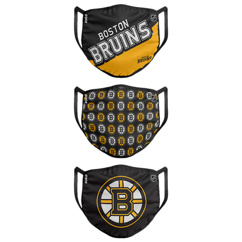 FOREVER COLLECTIBLES BOSTON BRUINS GAMETIME FACE MASKS (NON-MEDICAL) 3 PACK