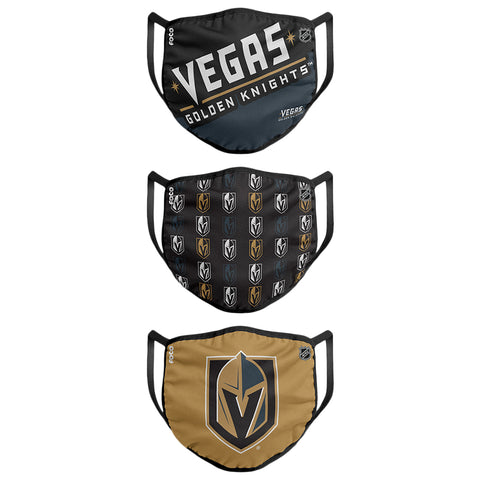 FOREVER COLLECTIBLES LAS VEGAS GOLDEN KNIGHTS GAMETIME FACE MASKS (NON-MEDICAL) 3 PACK
