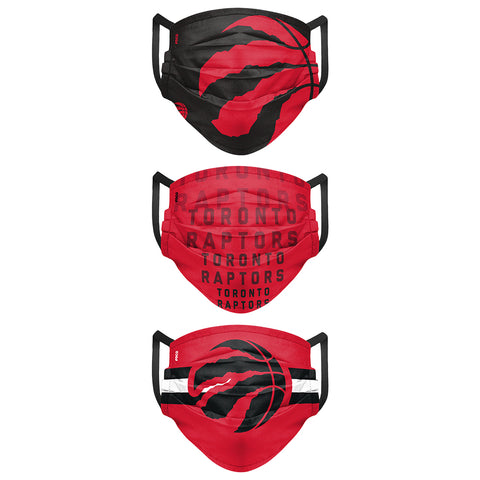 FOREVER COLLECTIBLES TORONTO RAPTORS MATCHDAY PELATED FACE MASKS (NON-MEDICAL) 3 PACK