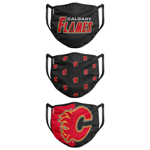FOREVER COLLECTIBLES YOUTH CALGARY FLAMES FACE MASKS (NON-MEDICAL) 3 PACK