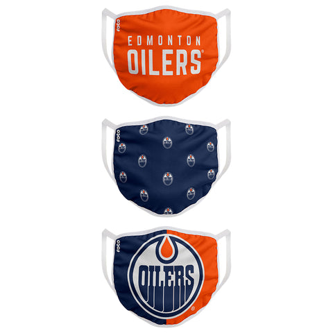 FOREVER COLLECTIBLES YOUTH EDMONTON OILERS  FACE MASKS (NON-MEDICAL) 3 PACK
