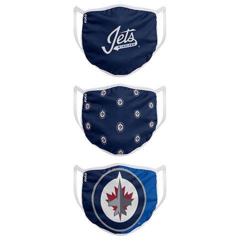 FOREVER COLLECTIBLES YOUTH WINNIPEG JETS FACE MASKS (NON-MEDICAL) 3 PACK