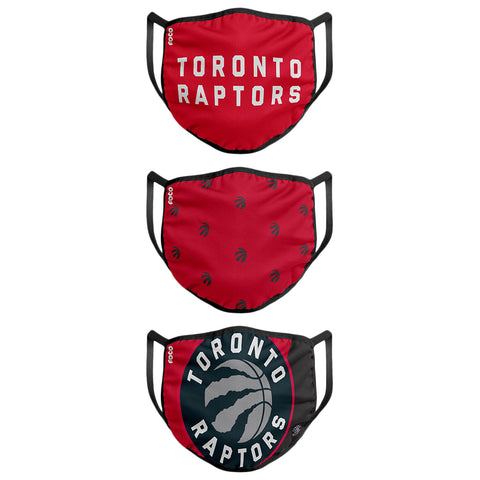 FOREVER COLLECTIBLES YOUTH TORONTO RAPTORS  FACE MASKS (NON-MEDICAL) 3 PACK