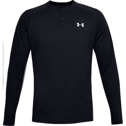 UNDER ARMOUR MEN'S COLD GEAR INFRARED HENLEY LONG SLEEVE TOP BLACK