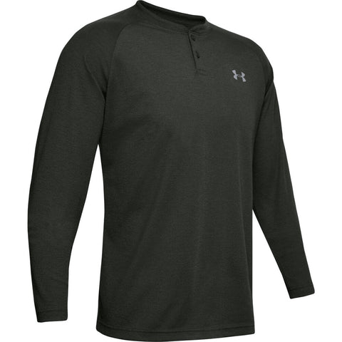 UNDER ARMOUR MEN'S COLD GEAR INFRARED HENLEY LONG SLEEVE TOP GREEN