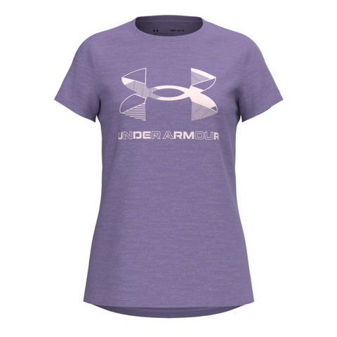 UNDER ARMOUR GIRL'S GRAPHIC TWIST BIG LOGO SHORT SLEEVE PLANET PURPLE