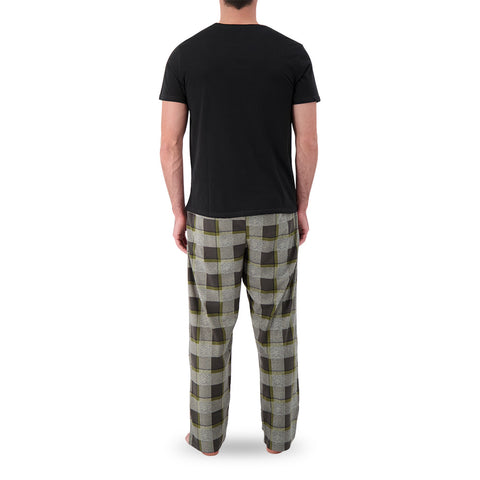 GREAT NORTHERN MEN'S FLANNEL LOUNGE SET BLACK