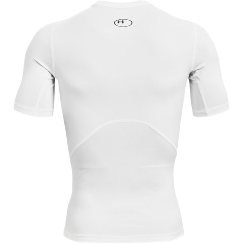 UNDER ARMOUR MEN'S HEATGEAR ARMOUR COMPRESSION SHORT SLEEVE TOP WHITE/BLACK