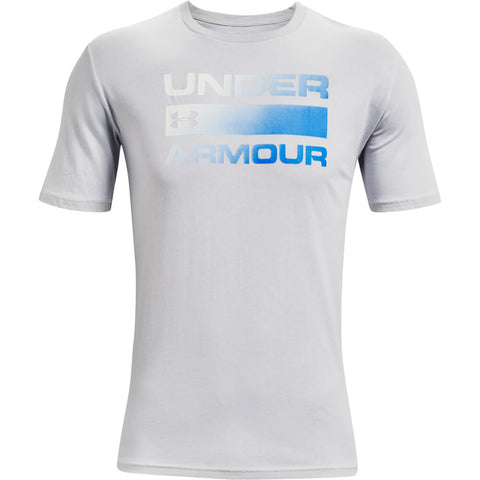 UNDER ARMOUR MEN'S TEAM ISSUE WORDMARK SHORT SLEEVE TOP HALO GREY/BLUE