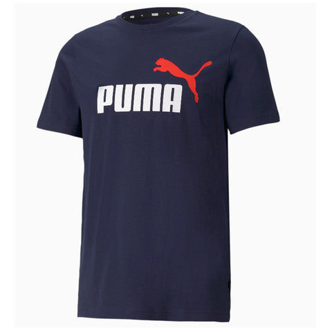 PUMA MEN'S ESSENTIAL+ 2 COLOUR LOGO SHORT SLEEVE TOP PEACOAT