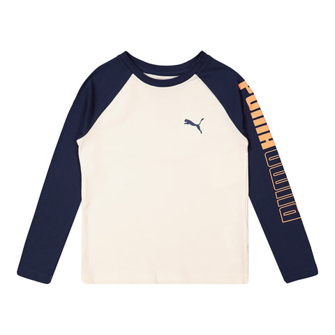 PUMA TODDLER UN-N-DOWN PACK LONG SLEEVE RAGLAN TEE WHISPER WHITE