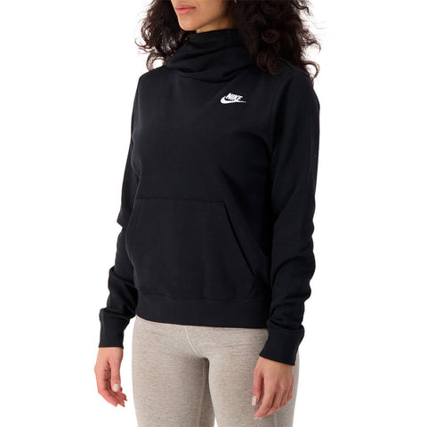 NIKE WOMEN'S NSW CLUB FLEECE FUNNEL BLACK/BLACK/WHITE