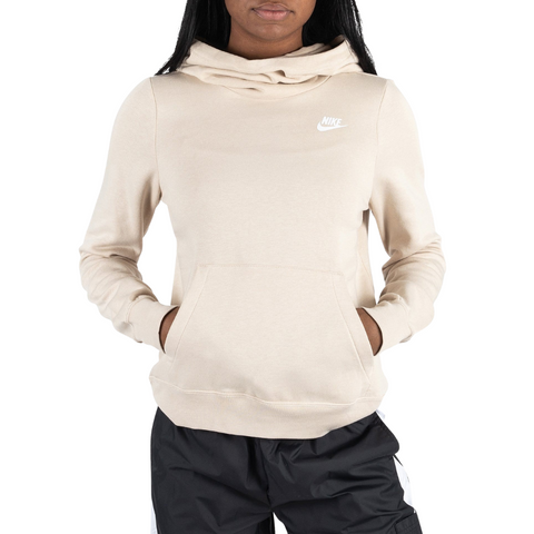 NIKE WOMEN'S NSW CLUB FLEECE FUNNEL OATMEAL/OATMEAL/WHITE