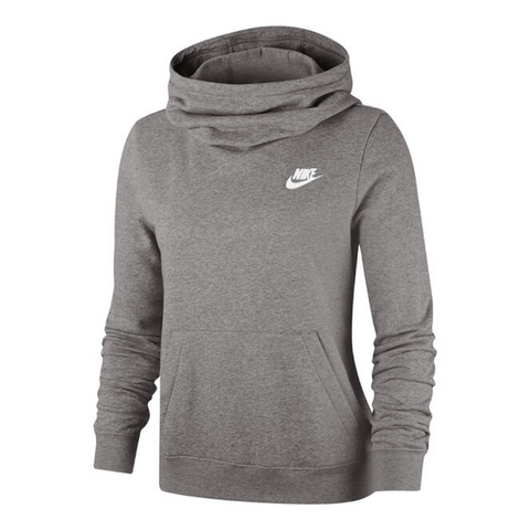 NIKE WOMEN'S NSW CLUB FLEECE FUNNEL  CHARCOAL HEATHR/DARK STEEL