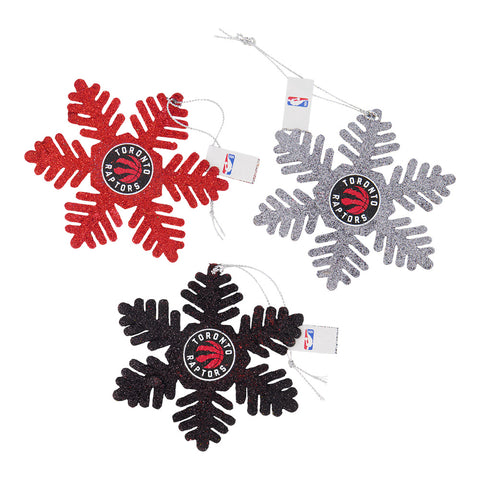 FOREVER COLLECTIBLES TORONTO RAPTORS 3 PACK GLITTER METAL SNOWFLAKE SET