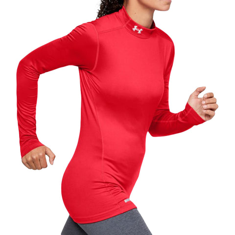 UNDER ARMOUR WOMEN'S COLDGEAR AUTHENTICS LONG SLEEVE RED