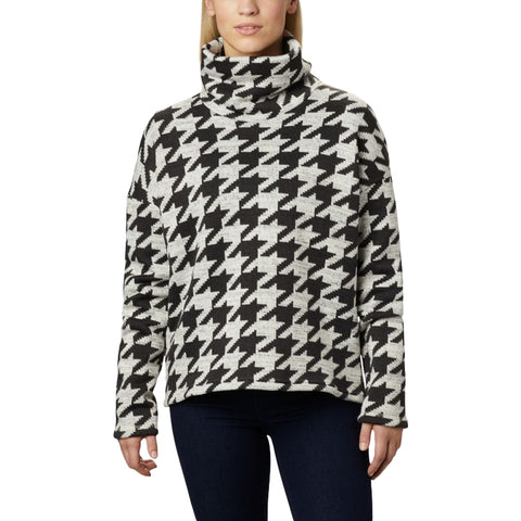 COLUMBIA WOMEN'S CHILLIN FLEECE PULLOVER BLACK HOUNDSTOOTH PRINT
