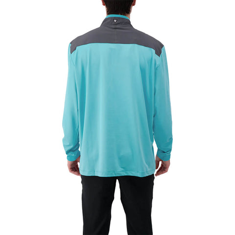 LEVELWEAR MEN'S RUSH 1/4 ZIP PULLOVER BLUE CURACO/CHARCOAL