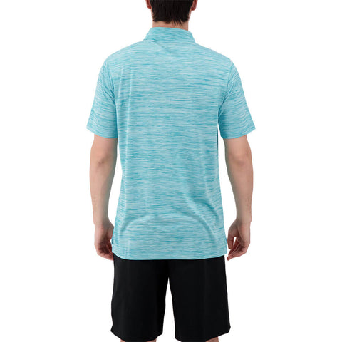 LEVELWEAR MEN'S FLURRY POLO HEATHER BLUE CURACAO