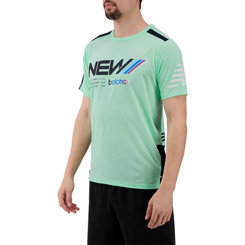 NEW BALANCE MEN'S PRINTED FAST FLIGHT SHORT SLEEVE TOP