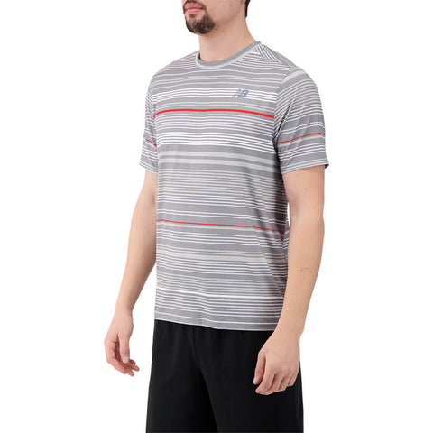 NEW BALANCE MEN'S RALLY CREW SHORT SLEEVE TOP STEEL