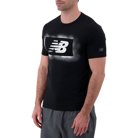 NEW BALANCE MEN'S GRAPHIC HEATHER TECH SHORT SLEEVE TOP