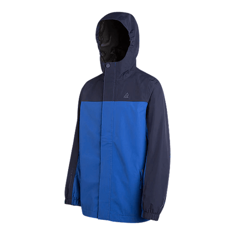 RIPZONE BOYS STORM RAIN JACKET LAPIS BLUE HOOD UP