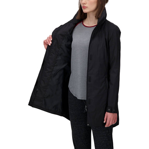 MCKINLEY WOMEN'S NYORA COAT BLACK MODEL WITH JACKET OPEN ON AN ANGLE