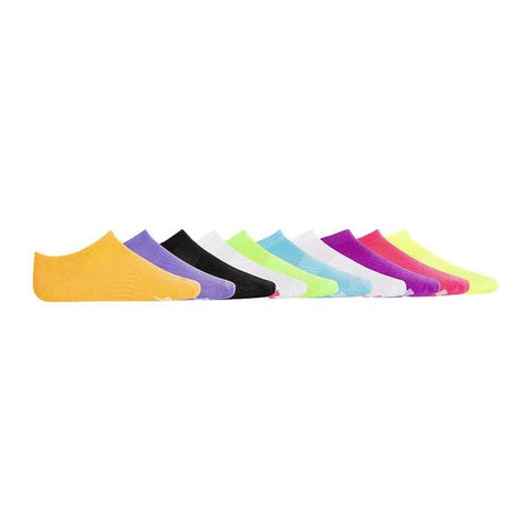 DIADORA GIRLS NO SHOW SMALL 10 PACK BRIGHTS SOCKS