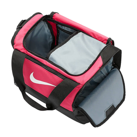 NIKE BRASILIA EXTRA SMALL DUFFLE 9.0 RUSH PINK INSIDE POCKET
