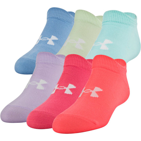UNDER ARMOUR GIRLS ESSENTIAL 2.0 NO SHOW 6 PACK YOUTH LARGE BLITZ RED/ASSORTED SOCKS