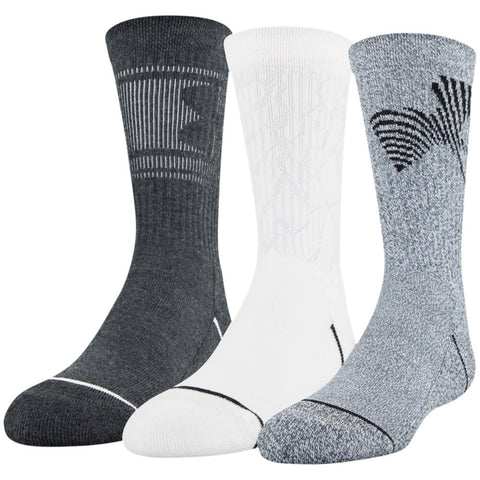 UNDER ARMOUR BOYS PHENOM CREW 3 PACK YOUTH LARGE GREY/BLACK ASSORTED SOCKS
