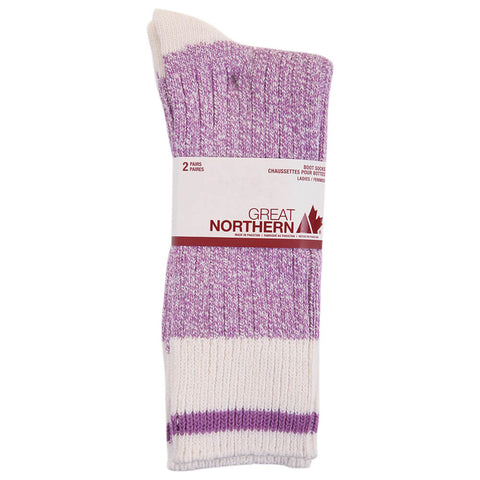 GERTEX GREAT NORTHERN LADIES 2PK CAMP BOOT SOCKS PURPLE